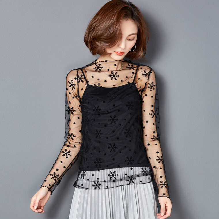 Summer Women Lace   Blouses     Shirts   Women tops Sexy mesh   Blouses     Shirts   See-through Long Sleeve Dot   Shirt     Blouse   Black 08
