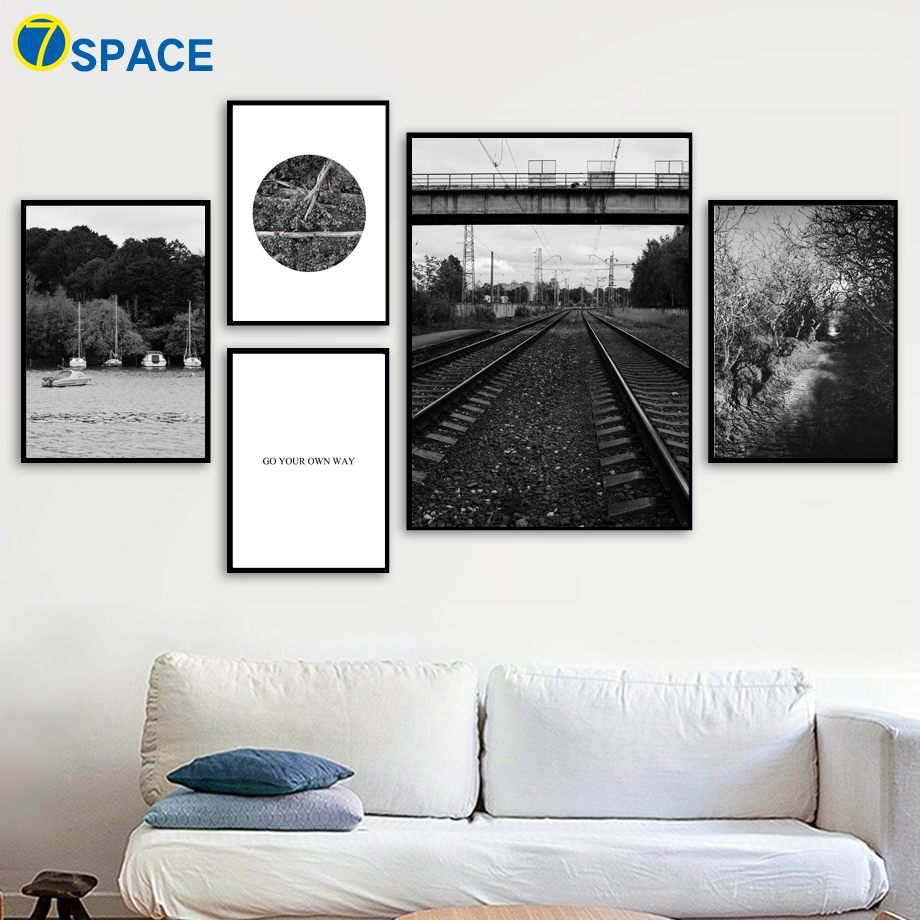 7-Space Wall Art Forest railway Sea Canvas Painting Posters And Prints Nordic Poster Decoration Pictures For Living Room Quadro