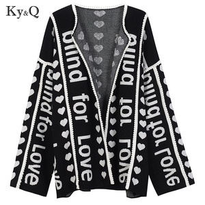 Image 2 - 2020 Winter Runway Designer Christmas Black Cardigan Long Sweater Women Vintage Striped Jupmer Luxury Loose Outwear