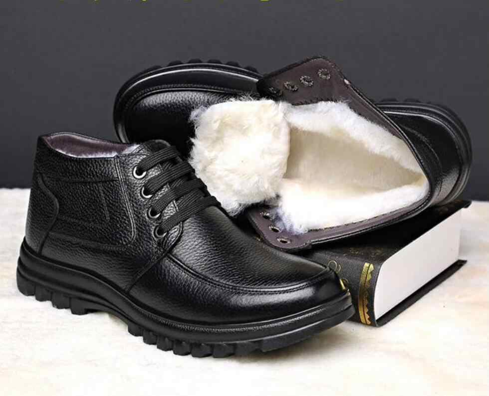 New Mùa Đông Người Đàn Ông da Chính Hãng Khởi Động mắt cá chân Ấm Giày Tuyết Người Đàn Ông an toàn Giày Giày Dép Thời Trang Nam Khởi Động Làm Việc Giày chelsea khởi động