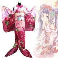 Japanese Geisha Traditional Women Red Floral Furisode Kimono Cosplay Costume