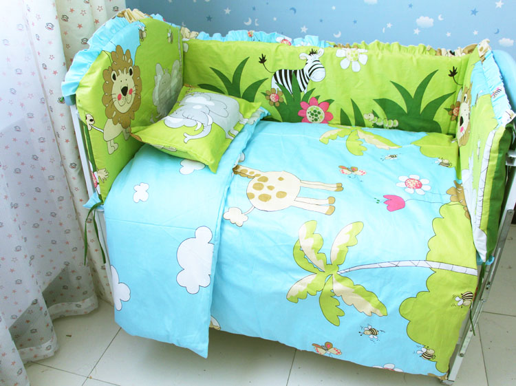 Promotion! 9PCS Whole Set Cotton Baby Crib Bedding Set for Girls Boys Newborn Baby Bed Linen Cot Quilt ,120*60/120*70cm promotion 6 7pcs brand baby crib bedding set for girl boys cartoon newborn baby bed linen cot quilt cover 120 60 120 70cm