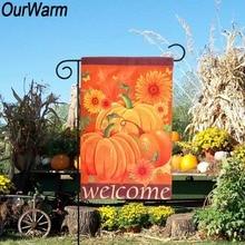 OurWarm 30x45cm Garden Flag Outdoor Home Decor Thanksgiving Leaf Pumpkin Fall Happy Halloween Harvest