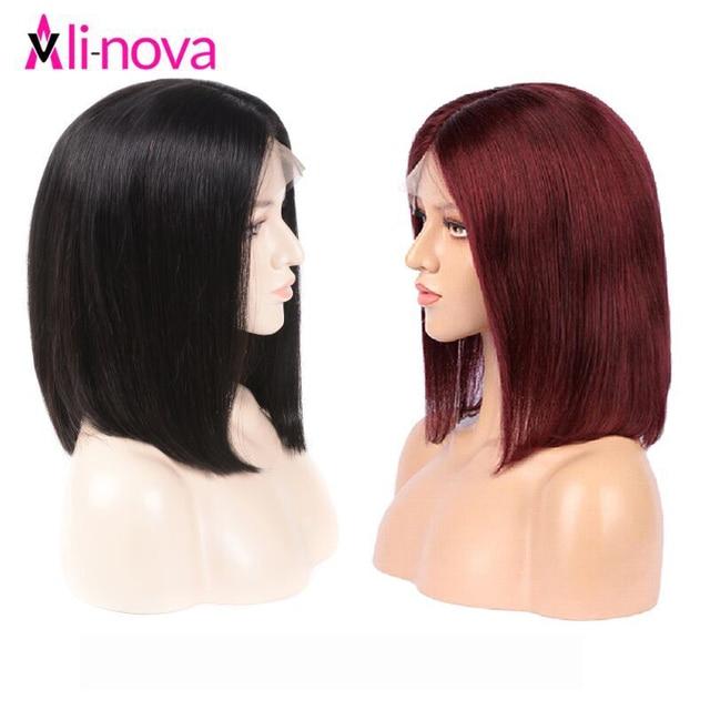 99j Bob corto peluca recto brasileño del pelo humano del frente del cordón pelucas para mujeres Borgoña Alinova 13x4 Frontal de encaje peluca de Color Natural