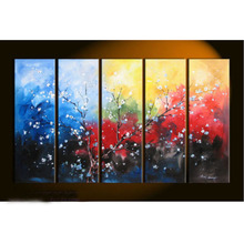 NO frame Large canvas Modern hand-painted 5 pieces Art Oil Painting Wall Decor