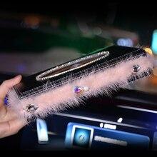 Car Tissue Box Rhinestone Diamond Auto Holder Block-type Feather Pearl Styling Decoration Women Girls