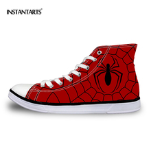 INSTANTARTS Cool Men's Vulcanize Shoes Fashion Canvas High Top Shoes Spider Mesh Printed Casual High-top Flat Shoes for Student