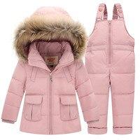 Children Set Suit For Girl Winter Boys Clothing Sets Winter Fur Collar Hoody Down Jacket Trousers Waterproof Snow Warm Kids Suit