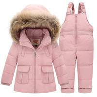 Children Set Baby Boys Girls Clothing Sets Winter Fur Collar Hoody Down Jacket Trousers Waterproof Snow