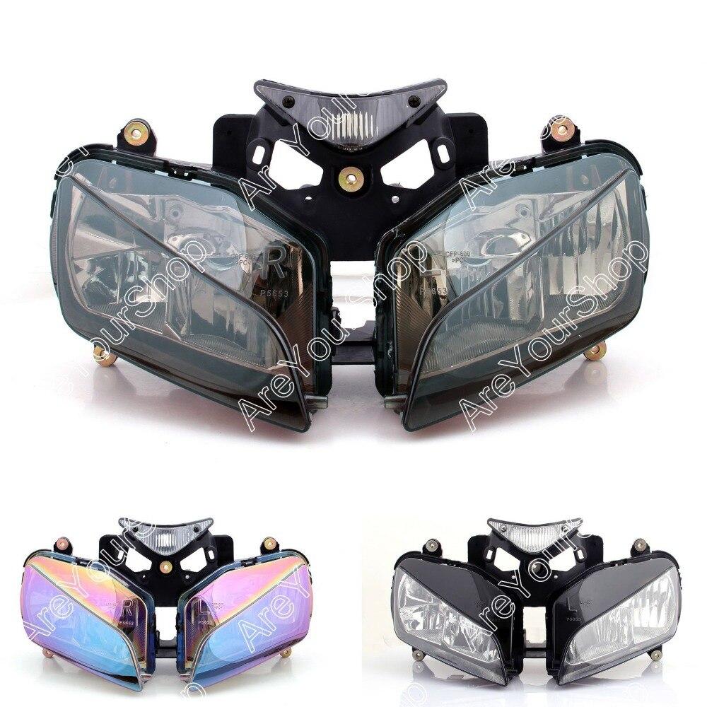 Clear Universal Motorcycle Headlight Headlamp Replacement Driving Fog Spot Moto Head Light for Honda CBR1000RR 2004-2007