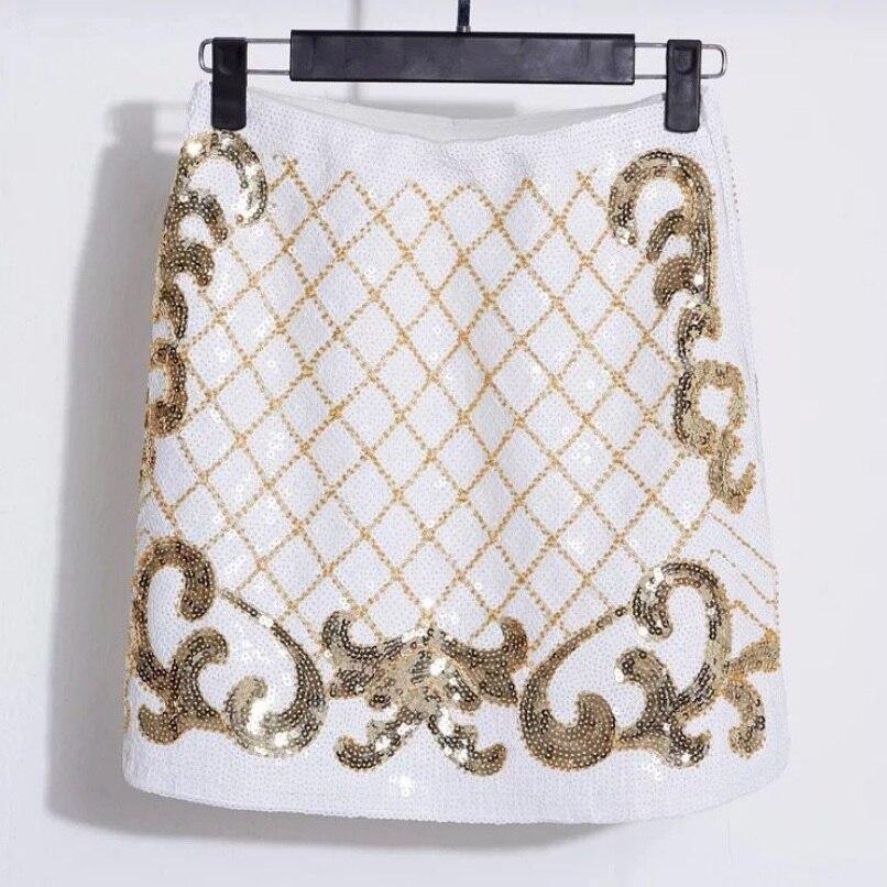 Diamond Lattice Sequined Beading Skirt Women Fashion A Line Short Skirt