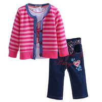 Pettigirl Baby Girl Clothing Set Stripe Overcoat With Long Sleeve White Shirt And long Trouser Baby Warm Set CS20820-08
