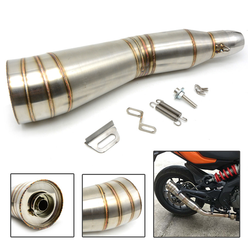 motorcycle muffler stainless steel exhaust Motorcycle Muffler exhaust pipe For yamaha MT-10 FJ-09/MT-09 Tracer MT125 r125 T660 stainless steel tuned pipe exhaust for zenoah rcmk sikk rc boat 23 30cc 380mm