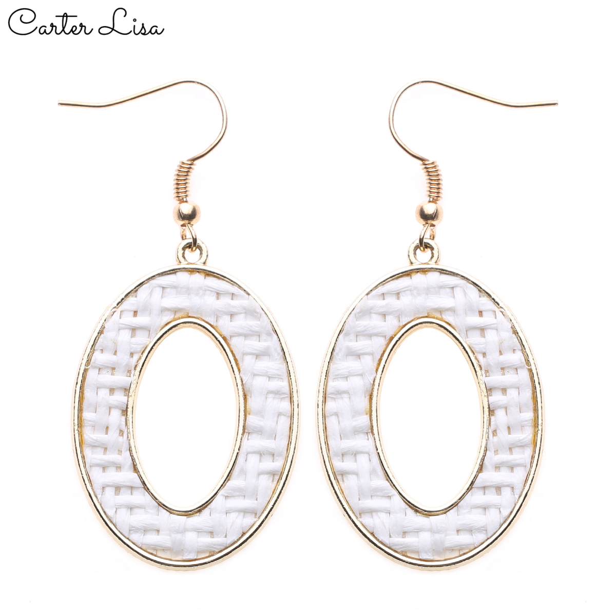 CARTER LISA 2019 New Personality Round White OL Earrings Eco-friendly Alloy Weaving Earrings For Women Ear Jewelry HDEA-084