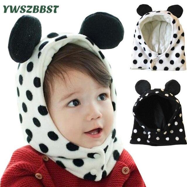 Inverno Del Bambino Ricopre I Cappelli per Bambini Bambina bambino Carino  Orecchio Dots Cappello Morbido Pile 56faf79691e9