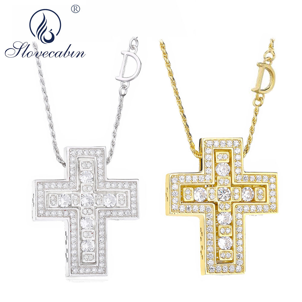 Slovecabin 925 Sterling Silver Italy Luxulry Double Cross Move D Letter Chain Belle Epoque Zircon Pendant Necklace Jewelry  Slovecabin 925 Sterling Silver Italy Luxulry Double Cross Move D Letter Chain Belle Epoque Zircon Pendant Necklace Jewelry