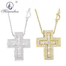 Slovecabin 925 prata esterlina itália luxulry duplo cruz movimento d carta corrente belle epoque zircão pingente colar jóias