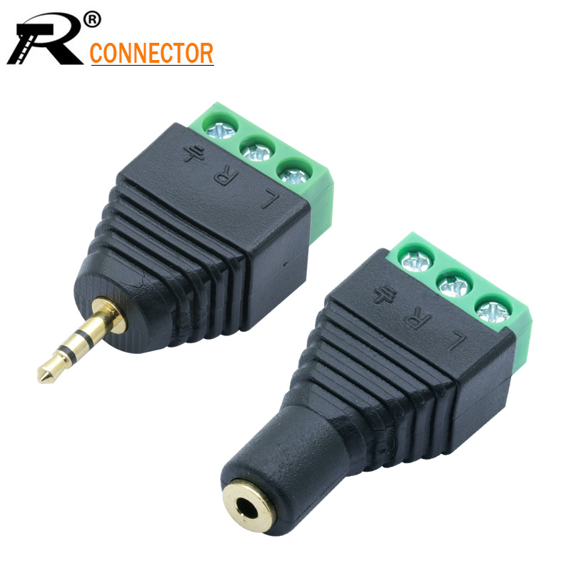 1set 2.5mm 3ploe 1/8 Inch Stereo Male To AV Screw Video Balun Terminal Jack 2.5 Mm Female 3 Pin Terminal Block Plug Connector
