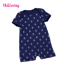 Toddler Baby Boy Romper Cute Short Sleeve Jumpsuit Anchor Print Newborn Clothes for 0-2 Year Boys Costume 2017 New Style Clothes stylish short sleeve anchor print color block sun resistant swimsuit for boys