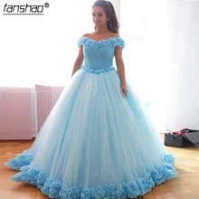 Ball-Gown Quinceanera-Dresses Sequined Light-Blue Party Sweep Princess Train 16