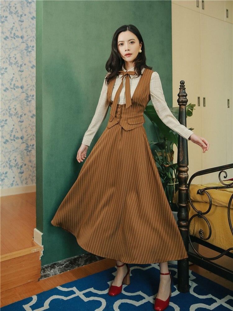 Новинка весны, Модный женский комплект из трех предметов, Ретро стиль, в полоску, Приталенный жилет, рубашка+ блузка, рубашка+ юбка
