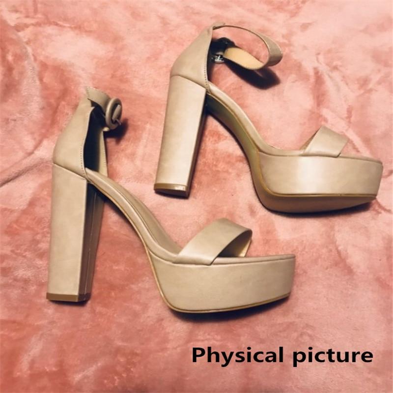 HTB1MZVDa3FY.1VjSZFqq6ydbXXaS Brand Elegant sandals Women High Heels Pumps Super high heel 13cm Women's Banquet sandals waterproof platform toe sandals