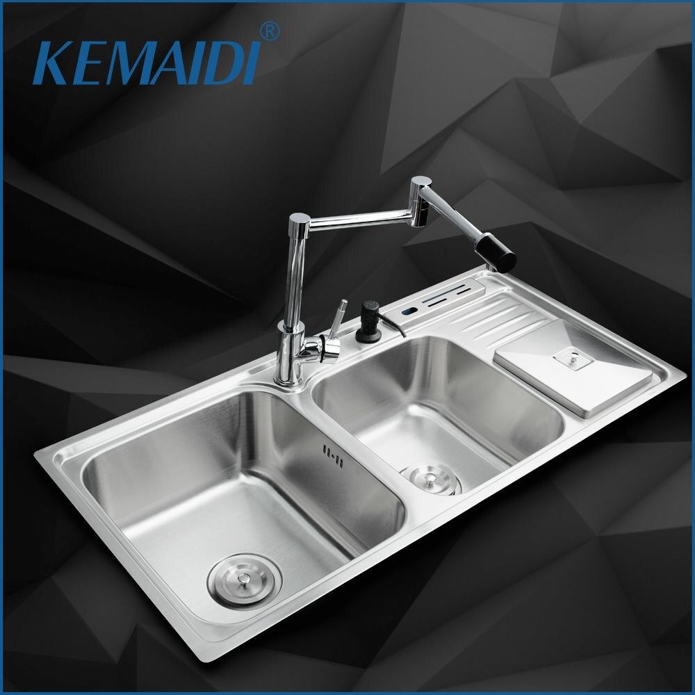 KEMAIDI cuisine en acier inoxydable évier bol cuisine lave-vaisselle Double bol + SS-148528-4/113 + pivotant 360 Chrome mitigeur robinet