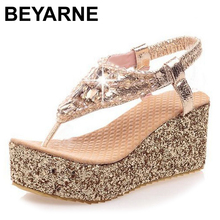 2015 Hot Sale summer thick high heel summer sandals women sexy fashion platform lady buckle wedge shoes