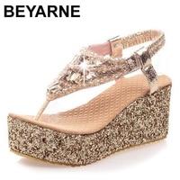 Beyarne Лидер продаж Лето толстый высокий каблук летние сандалии Пикантные женские модные туфли на танкетке с пряжкой