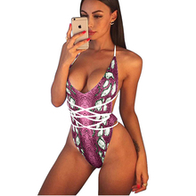 de86292ea9 Snake Skin Backless Bathing Suit Women 2018 Bandage Swimsuit Push Up  Monokini Sexy Bodysuit One Piece