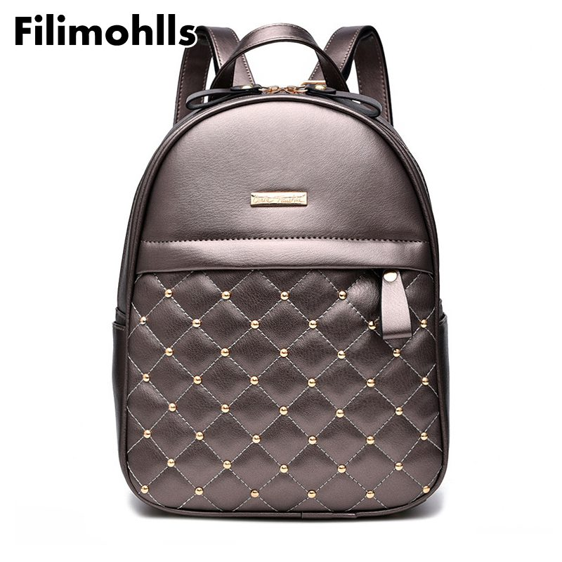 High Quality bead female shoulder bag PU Leather Backpacks for Girls mochila Women Backpack Hot Sale Fashion Causal bags F-59