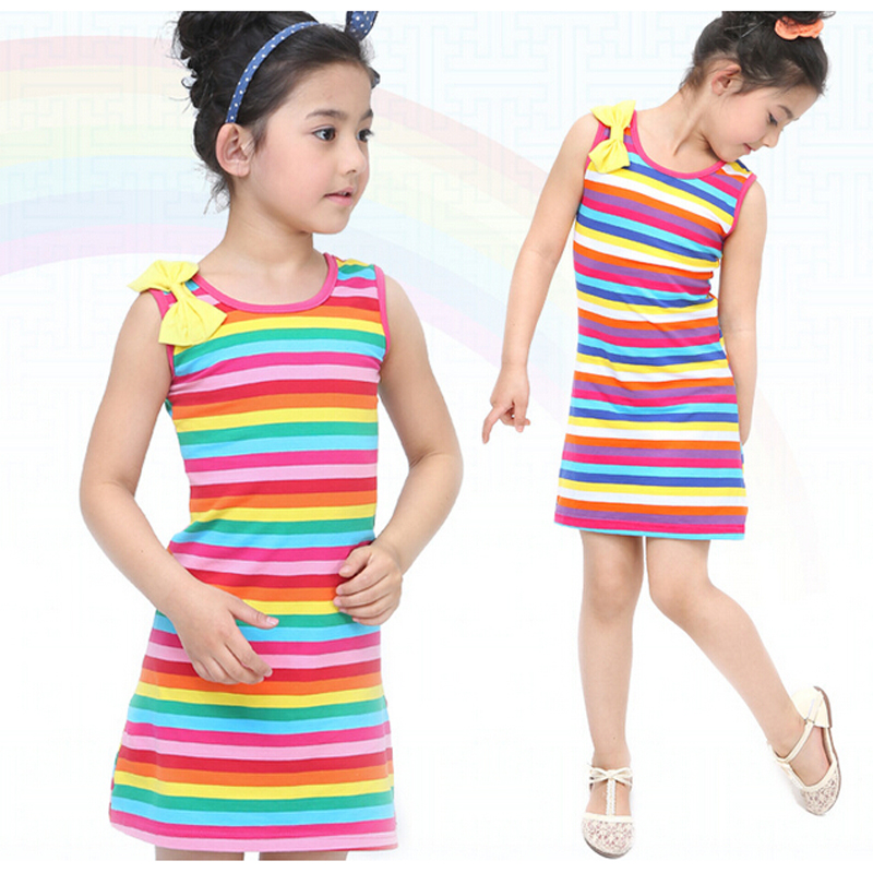 Summer Girls Dresses Cotton Casual Children Sleeveless Striped Baby Clothes For Girls Bow O-Neck Children Clothing YYT256 children summer princess sleeveless wholesale clothing kids plaid dresses baby girls o neck collar boutique clothes 6pcs lot