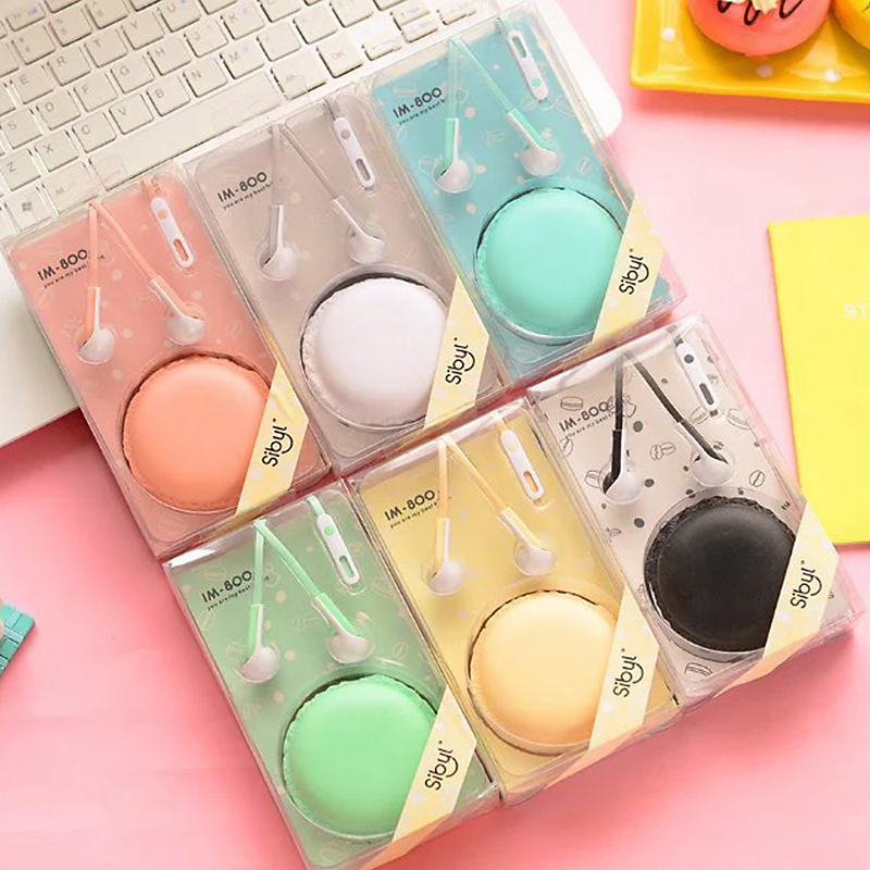 TYAYA Cute Earphone Macaroon Music Earphones With Microphone Soft Small Earbuds Good Gift for Grils and Children WQ