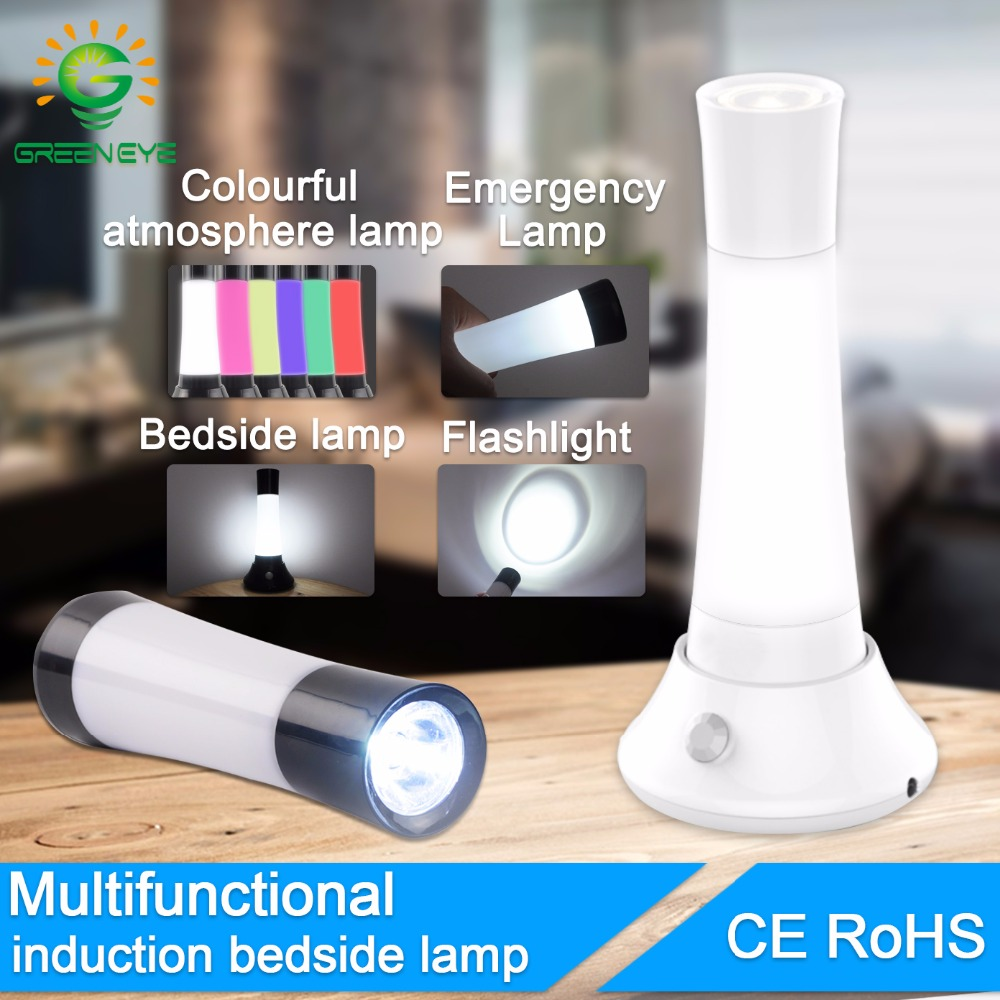 GreenEye LED Night Light IR Infrared Motion Sensor Multi function led Flashlight RGB led atmosphere Portable LED emergency lamp