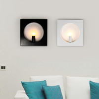 BEIAIDI Modern Round Square Shape Led Wall Lamp Nordic Living Room Foyer Aisel Balcony Wall Light Iron Bedroom Bedside Sconces