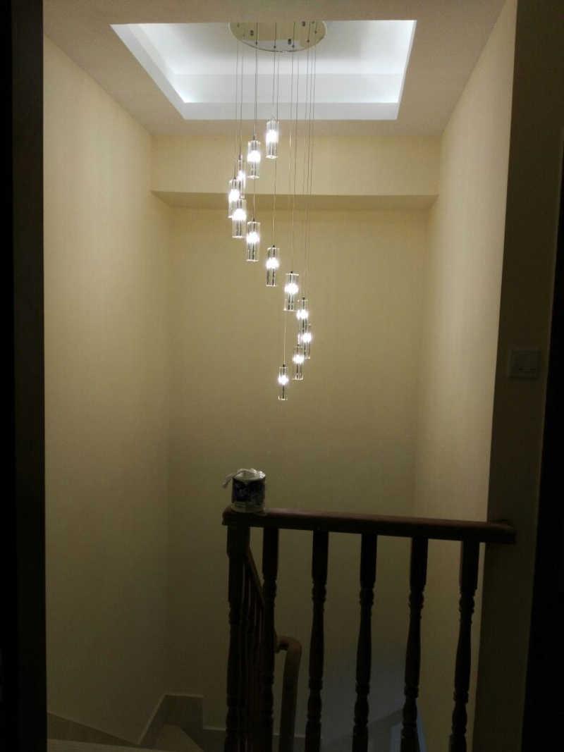 Lámparas largas para escalera Lámpara de techo Escalera Led de iluminación  interior de la escalera araña de cristal iluminación lámpara cristalina ...