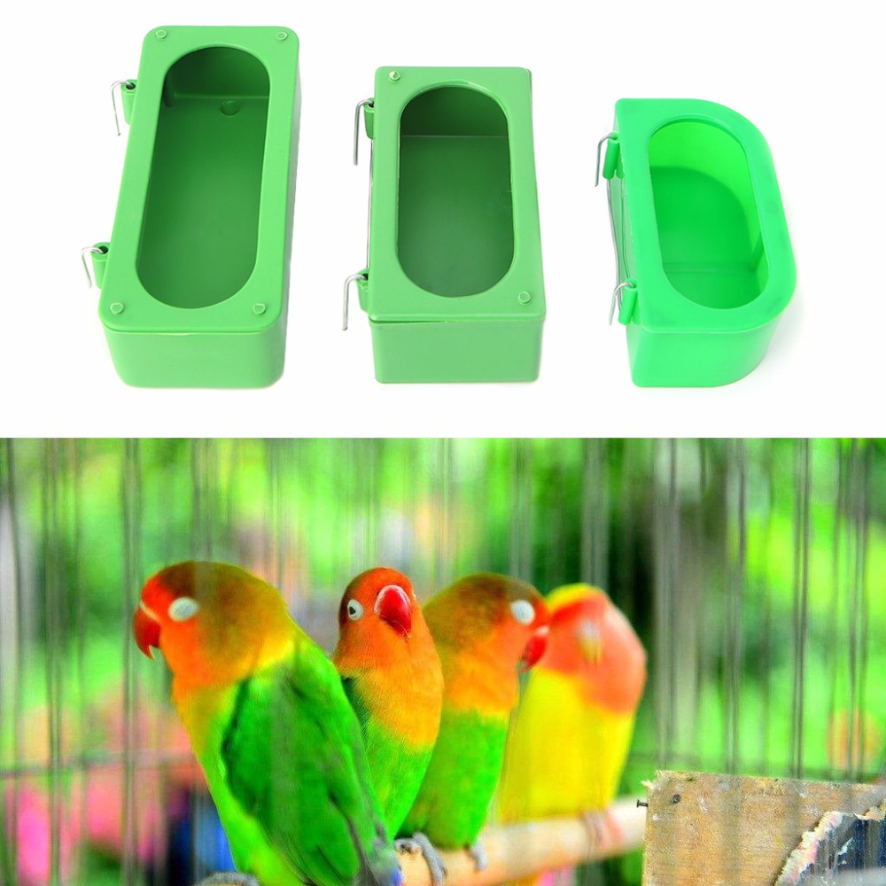 Bird Feeder Green Food Water Plastic Bowl Cups for Parrot Pigeons Cage Feeding Cup S/M/L Size Birds Supplies C42