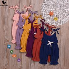 Chivry Summer Newborn Baby Girls Sleeveless Solid Cotton Linen Overalls Vest Romper Jumpsuit Infant Fashion Cute Clothes