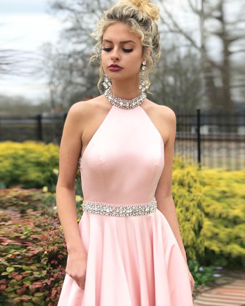 Ruby Bridal 2019 Robe De Bal Long Prom dresses Pink Satin Beaded Women Sexy Backless Evening