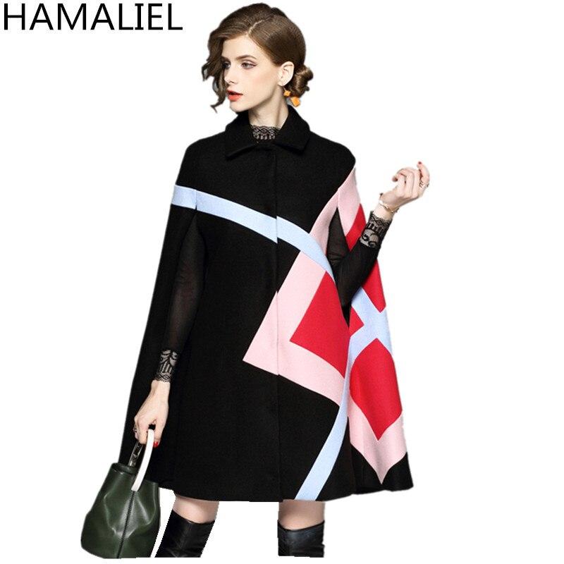 """Осень-зима, женский шерстяной плащ, пончо, шерстяное пальто, подиум, черный, пэчворк, рукав """"летучая мышь"""", твидовый плащ, Толстая теплая верхняя одежда - Цвет: Черный"""