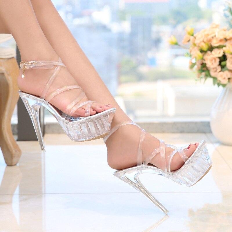 2019 Women'S High Heels Crystal Sandals Transparent Shoes Casual Bohemian Luxury Sandals Platform Stiletto Clear Heels Sandals