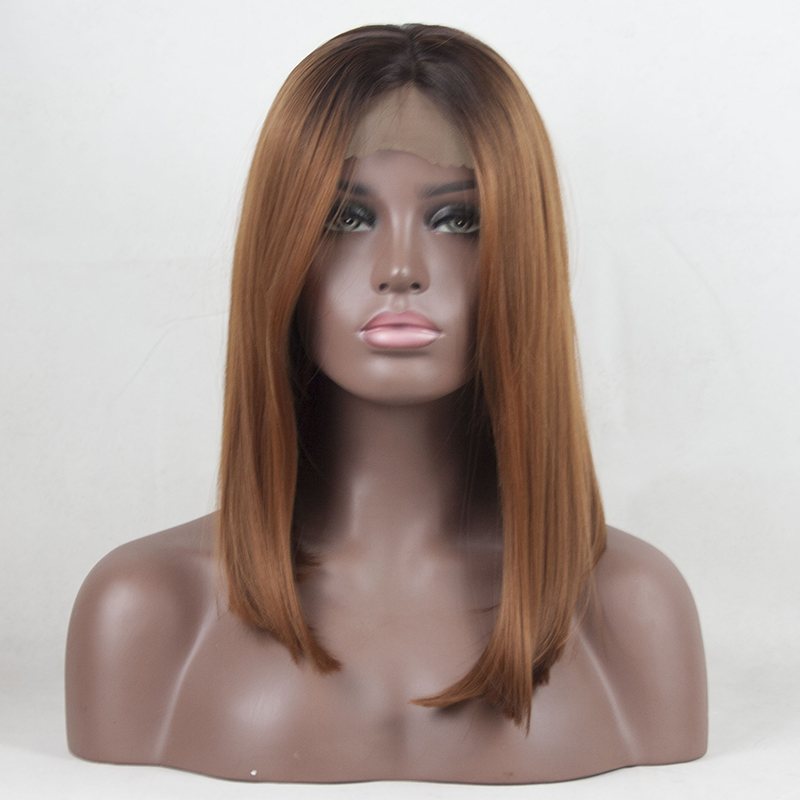 YXCHERISHAIR 12-16 Synthetic Lace Front Brown Wigs for African American Women Straight Bob Hair Wigs Middle Part Heat Resistant