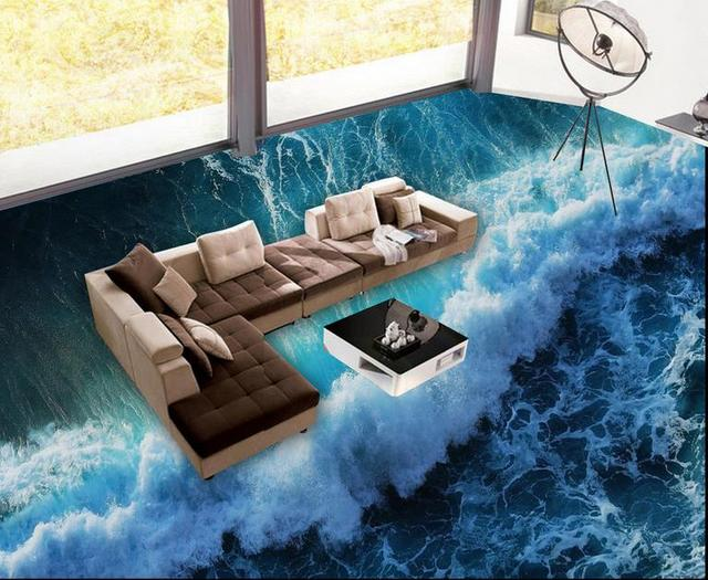 Customized wallpaper roll size 3d floor tiles sea waves for Black 3d tiles wallpaper