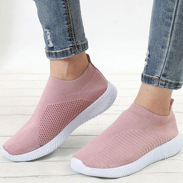 KHTAA Yeni Kadın Spor Streç Örgü Ayakkabı Bahar Flats Örgü Nefes Rahat Çorap Ayakkabı Kadın Damla Alışveriş Artı Boyutu