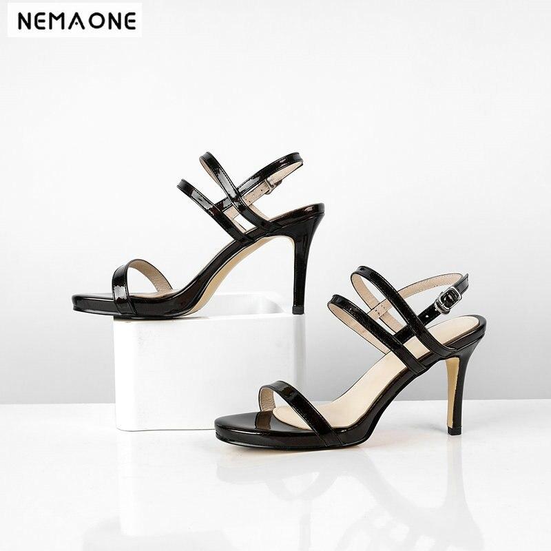 NEMAONE en cuir véritable chaussures à talons hauts femme sandales dames robe de soirée chaussures femme été noir bleu argent femmes chaussures