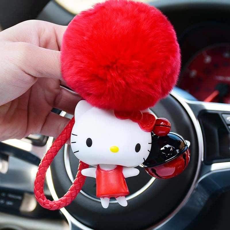Corda de couro Chave Do Carro Urso Charme Dos Desenhos Animados Anime Olá Kitty Gato Afortunado Chaveiro Fluffy Rabbit Fur Pom Chave Saco Cadeia anel Titular