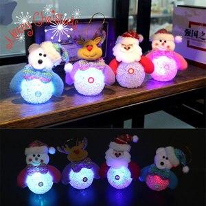 Eva Baby Dolls Holiday LED Lights Snowman Santa Claus Christmas Tree Pendant lanterns Light Adorn Happy New Year Ornament lamps(China)