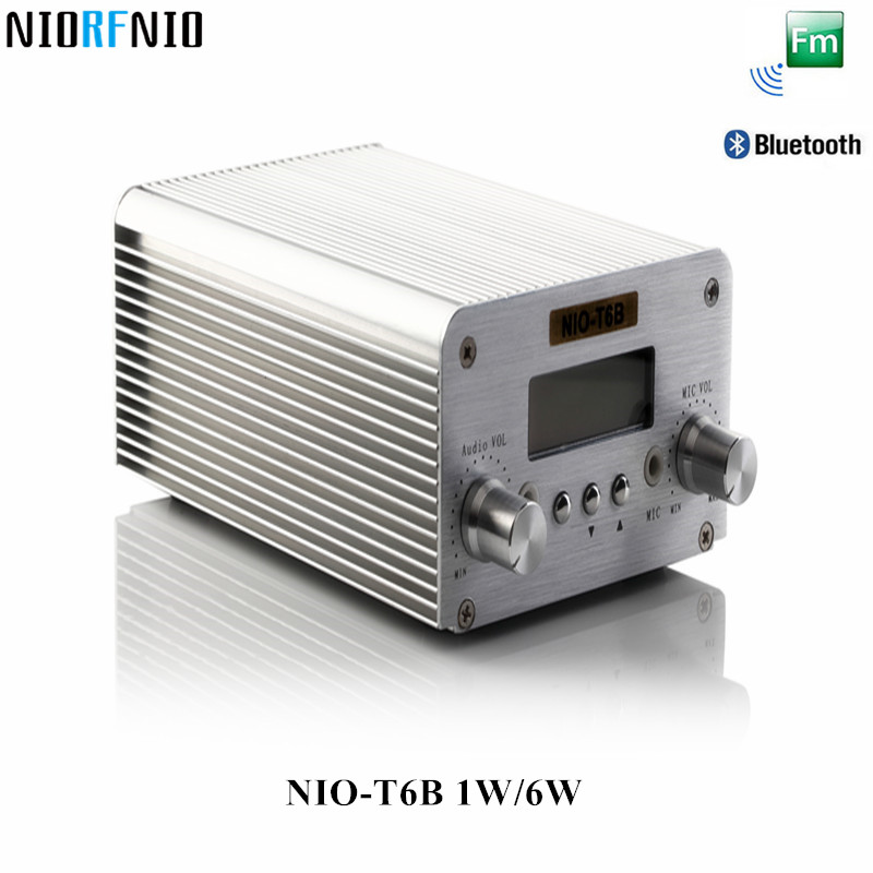 Free Shipping Hot Selling Bluetooth and PC Control NIO-T6B 6W FM Transmitter Professional Computer Audio Amplifier 2017 new technology free shipping 1w 6w wireless mini power radio broadcast nio t6b pll fm transmitter with pc control