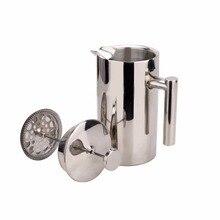 Delicado cafetera prensa francés cafetera y tetera cafetera con filtro marca de máquina de café de doble pared de acero inoxidable bs