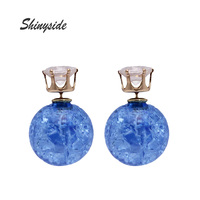 New Fashion Brand Jewelry Double Imitation Pearl Stud Earrings For Women Gold Plated Crown Statement Gift